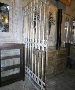 Antieke wit smeedijzeren sier hek-3