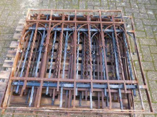 Antieke smeedijzeren hekwerk 97x97 cm-1