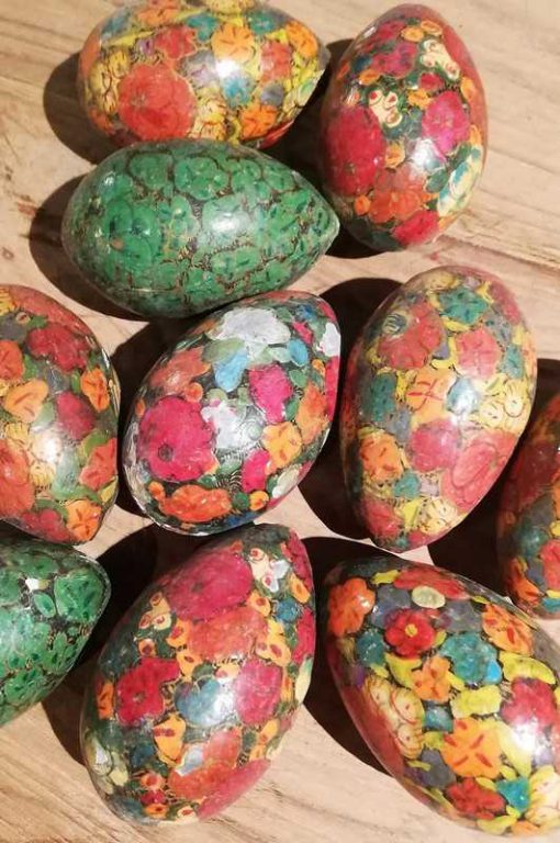 Vintage painted wooden eggs-1