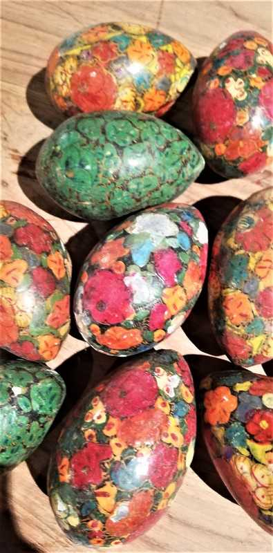 Vintage painted wooden eggs-2