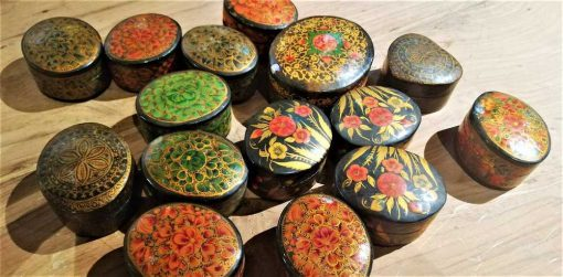 Small oval wooden painted boxes-1