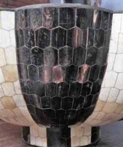 Bronze black / white bowl with inlaid bone-3