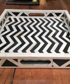 Decorative black and white square dish-1