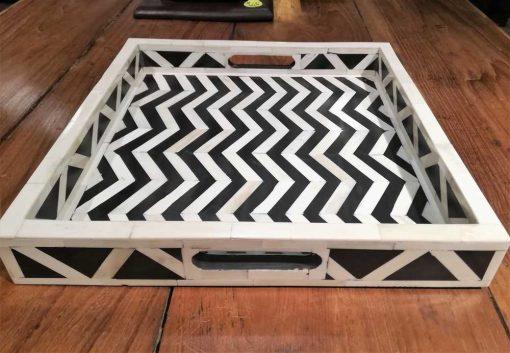 Decoratieve zwart/wit vierkanten schaal-1