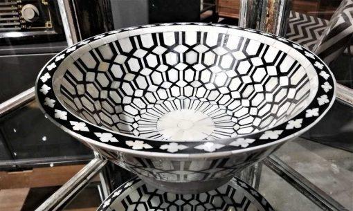 Decoratieve zwart/witte ronde schaal-1