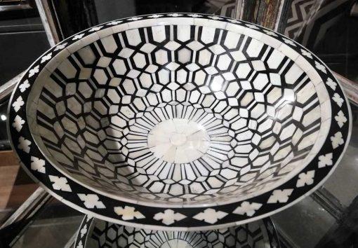 Decoratieve zwart/witte ronde schaal-2