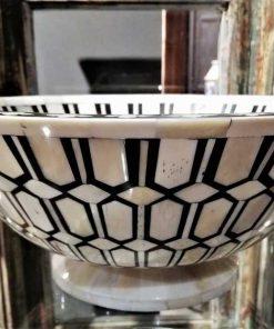 Decorative black/white round dish-3