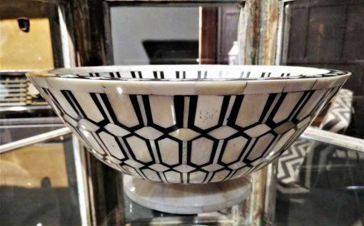 Decoratieve zwart/witte ronde schaal-3
