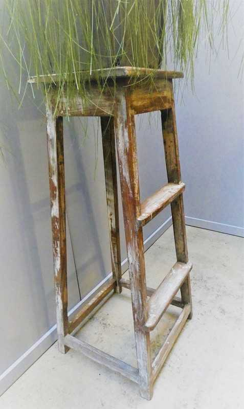 Vintage wooden plant table-3