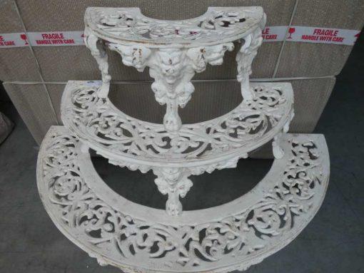 White semi-circular cast iron plants stand-2