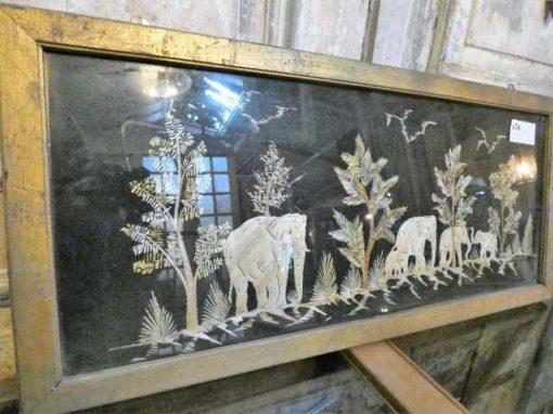Oude houten lijsten met uit bamboe gesneden tafereel-3