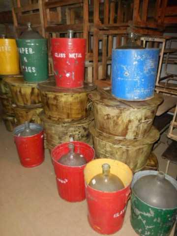 Vintage colored trash bins-2