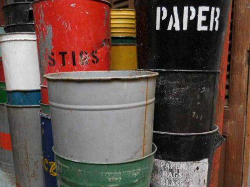 Vintage colored trash bins-3