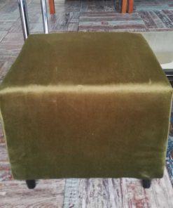 Two Green Velvet Vintage Pouffes / Stools-2