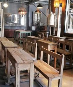 Old Wooden School benches-3