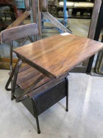 Vintage houten schoolstoel / lessenaartje-2