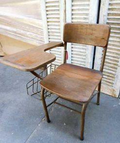 Vintage teakhouten bioscoop bank / stoelen-1