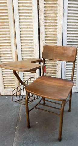 Vintage teakhouten bioscoop bank / stoelen-2