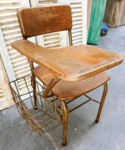 Vintage teak cinema bench / chairs-4