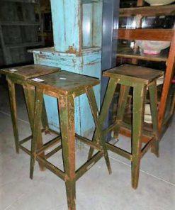 Vintage metalen planten tafel / kruk in leger groen-2