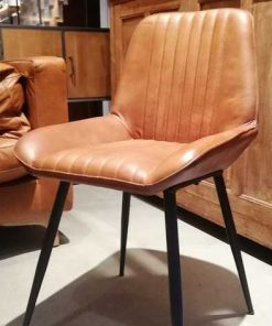 Cognac leather dining chair-1