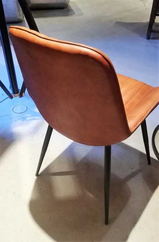 Cognac leather dining chair-3