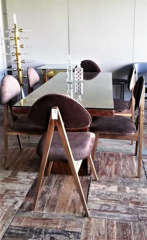 Vintage Brown Velvet Dining Chairs-1