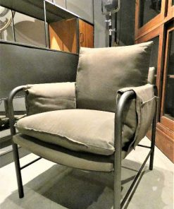 Antique grey velvet armchair-2