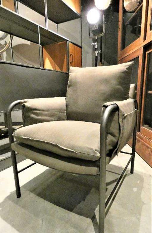Antique grey velvet armchair-2