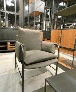 Antique grey velvet armchair-3