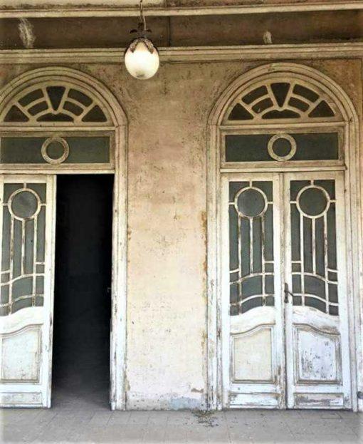 Antieke dubbele deuren met glas-1