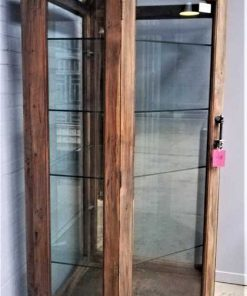Large antique corner display case-2