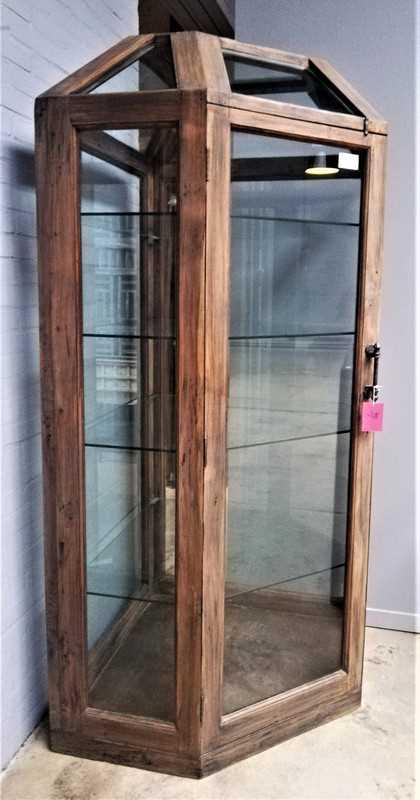 Large antique corner display case-2