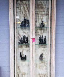 Vintage ondiepe vitrine kast-1