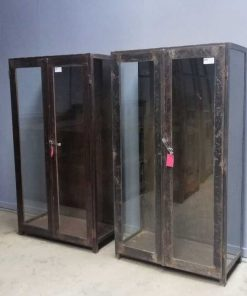 Antique black / brown metal display case-1