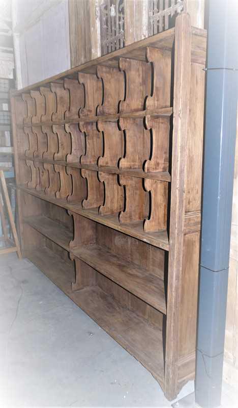 Vintage houten kast met open vakken-5