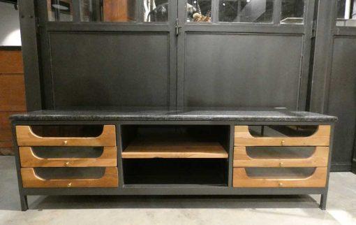 Lage dressoir / tv-kastje met zwart stenen blad-1
