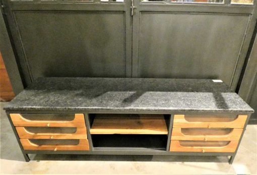 Lage dressoir / tv-kastje met zwart stenen blad-2