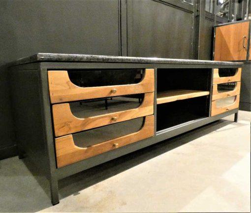 Lage dressoir / tv-kastje met zwart stenen blad-3