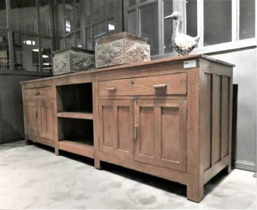 Antieke lage kast / dressoir / werkbank / keukenblok-2