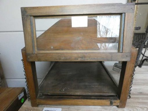 Antique display case with hanging chain-2
