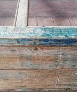 Vintage blauw geschuurde vitrine museum kast-4