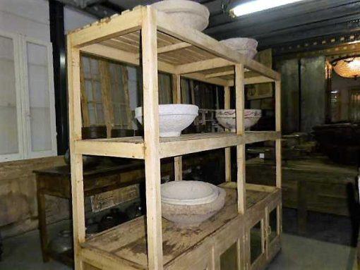 Vintage open houten kast in creme-1