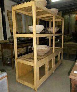 Vintage open houten kast in creme-2