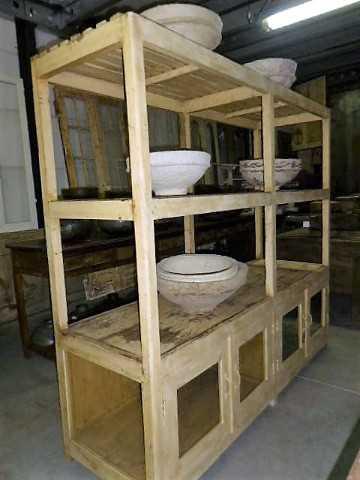 Vintage open houten kast in creme-3