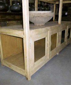 Vintage open houten kast in creme-4