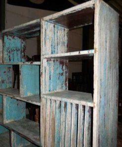 Antieke turquoise blauw open kast-2