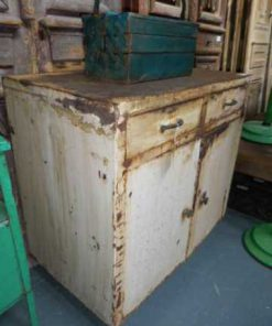Industrieel vintage metalen dressoir in wit-2