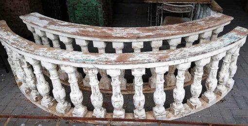 Old half round wooden balustrade-1