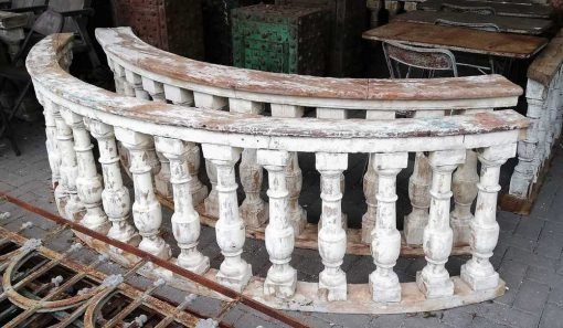 Old half round wooden balustrade-2